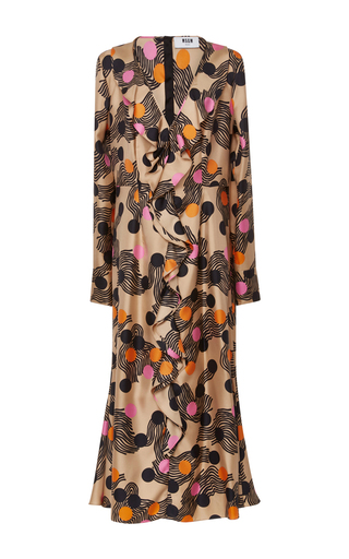 Medium msgm floral long sleeve ruffle dress
