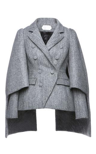Medium dice kayek light grey double breasted cape sleeve coat