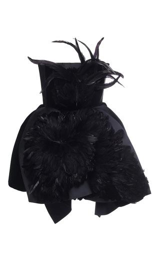 Medium dice kayek black strapless feather top