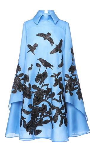 Medium dice kayek blue cape sleeve printed dress