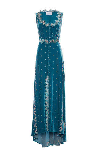 Medium luisa beccaria blue embroidered velvet dress with buttons