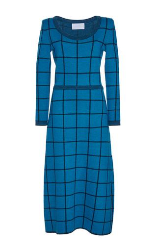 Medium luisa beccaria blue wool checked knit dress