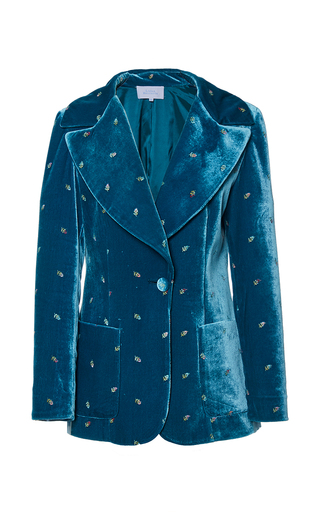 Medium luisa beccaria blue embroidered velvet blazer