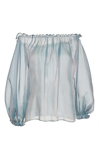 Medium luisa beccaria blue organza blouse