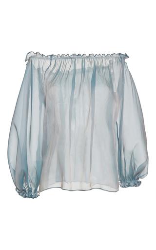 Medium luisa beccaria blue organza blouse
