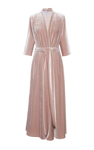 Medium luisa beccaria pink long sleeve velvet wrap dress