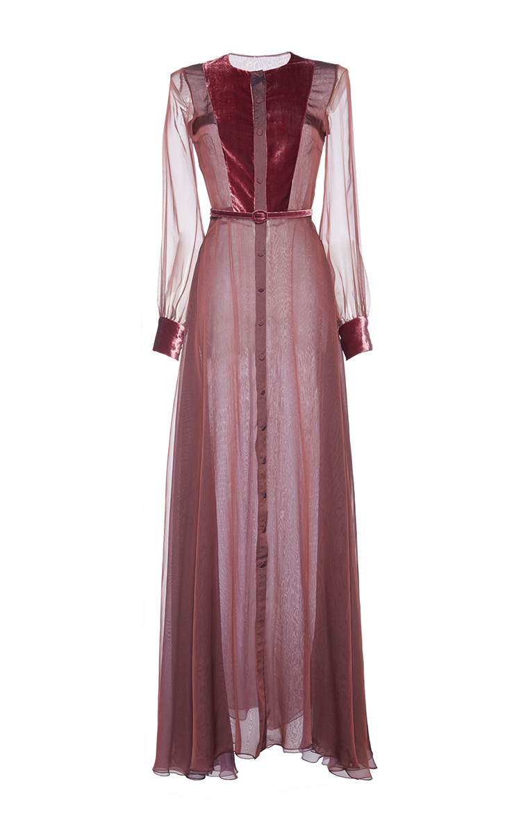 Iridescent Chiffon Chemise Dress With Velvet Details by Luisa ...