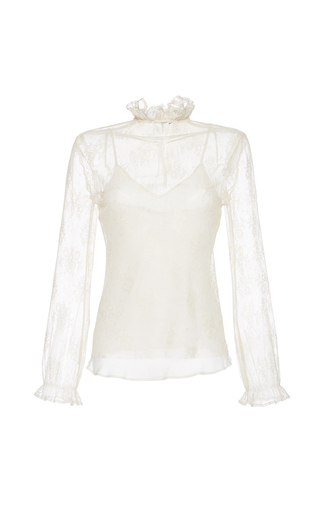 Medium luisa beccaria ivory stretch lace blouse