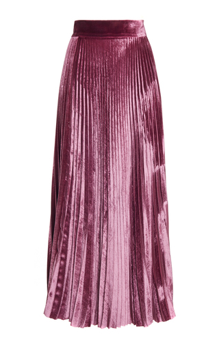 Medium luisa beccaria pink velvet pleated skirt