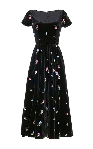 Medium luisa beccaria black embroidered velvet full dress