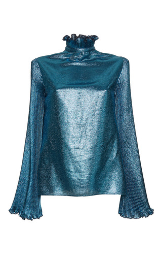 Medium luisa beccaria blue lurex blouse with pleated sleeves
