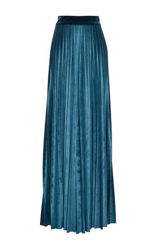Medium luisa beccaria blue stretch velvet pleated pants