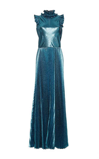 Medium luisa beccaria blue lurex pleated long dress