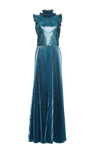 Medium luisa beccaria blue lurex pleated long dress