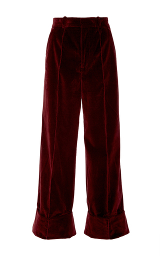 Medium racil burgundy leo burgundy velvet trousers