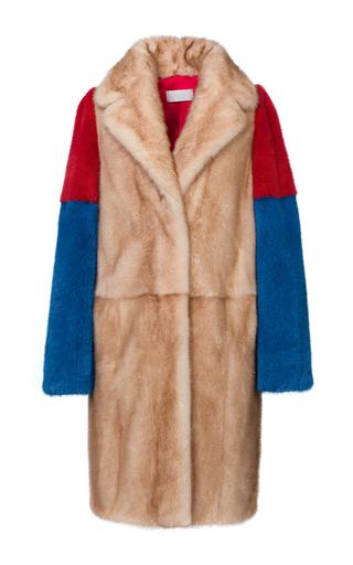 Medium mate official tan colorblocked mink fur coat
