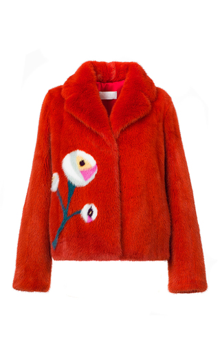 Medium mate official coral floral intarsia mink fur jacket