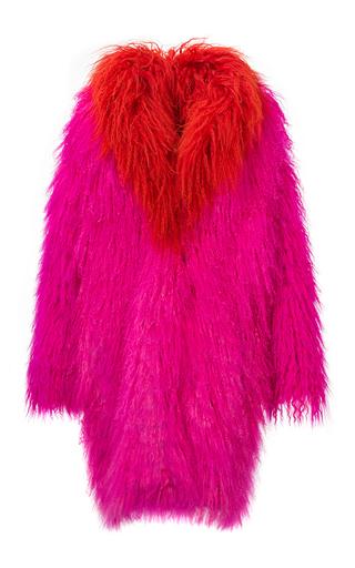 Medium mate official pink bi color tibetan lamb fur coat