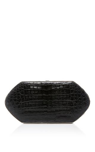 Medium hunting season black compact crocodile clutch