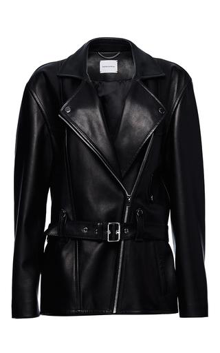 Medium magda butrym black columbus oversized leather jacket