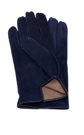 Medium artisanal milano navy suede black glove