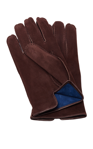 Medium artisanal milano brown suede brown glove