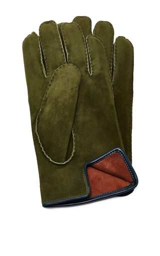 Medium artisanal milano green suede grey glove