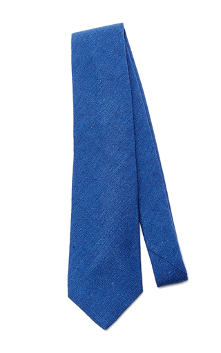 Medium artisanal milano blue slub wool tie