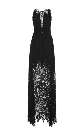 Medium elie saab black lace up lace dress