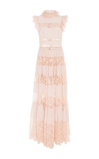 Medium elie saab pink lace and ruffle maxi dress