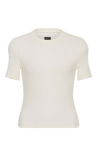 Medium getting back to square one white ribbed crop sweater