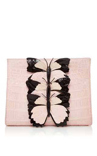 Medium nancy gonzalez pink pink butterfly appliqued crocodile clutch