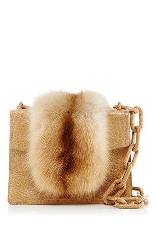 Medium nancy gonzalez nude nude mink fur mini flap bag