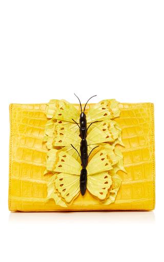 Medium nancy gonzalez yellow yellow butterfly appliqued crocodile clutch