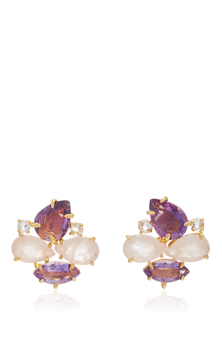 Medium bounkit multi brass 14k gold plated rose quartz amethyst and clear quartz earrings