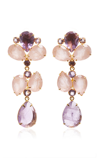 Medium bounkit multi brass 14k gold plated amethyst and rose quartz earrings