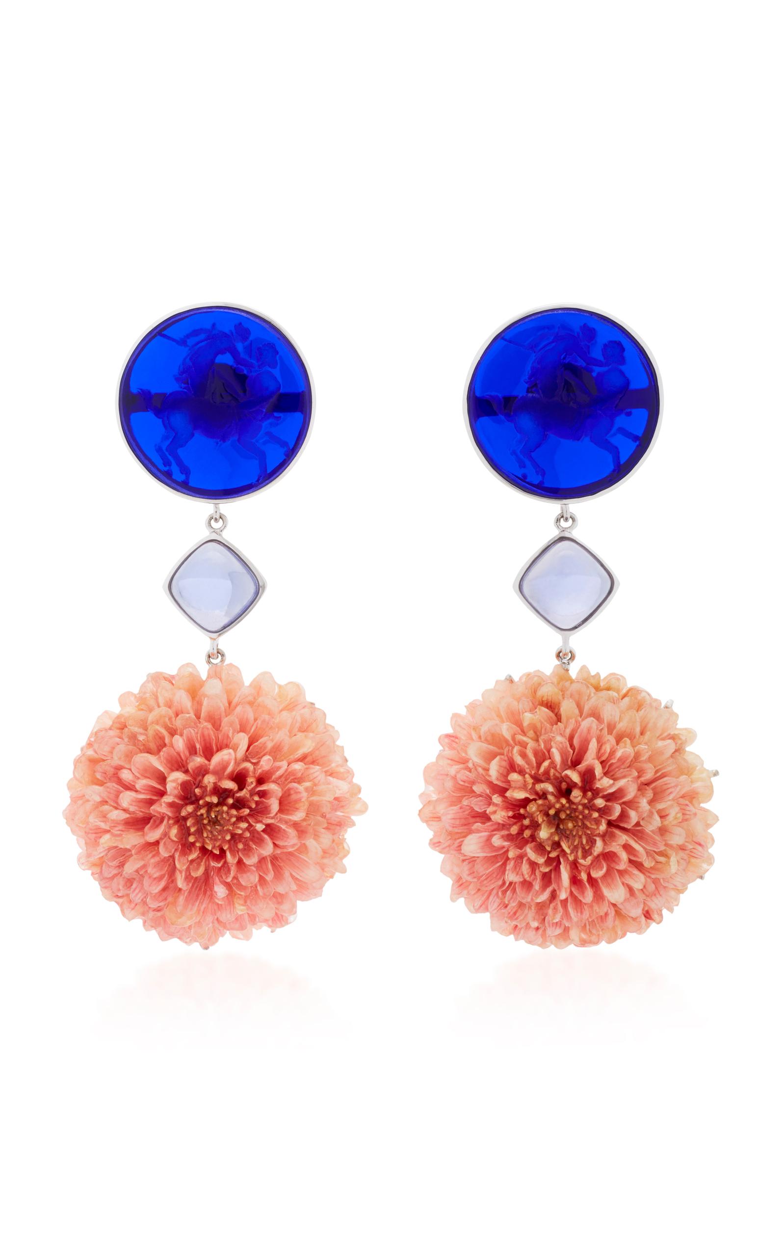 BAHINA 18K WHITE GOLD DARK BLUE VENETIAN GLASS CAMEOS EARRINGS
