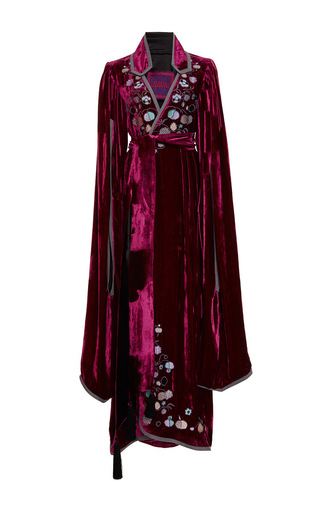 Medium yuliya magdych burgundy paradise apples velvet zupan long gown