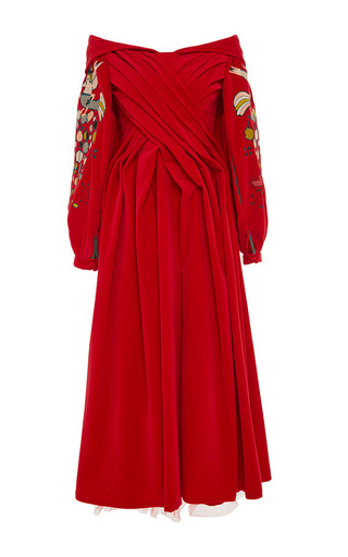 Medium yuliya magdych red paradise apples velvet calf length dress
