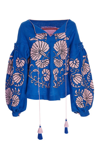 Medium yuliya magdych blue flower shells linen princess blouse