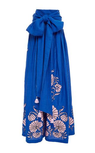 Medium yuliya magdych blue flower shells linen princess skirt