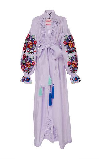 Medium yuliya magdych purple embrace linen maxi dress
