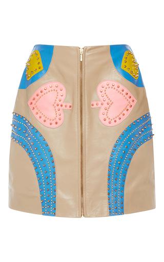 Medium manish arora tan patchwork mini skirt