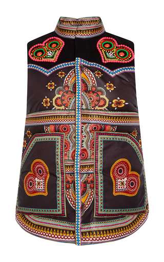 Medium manish arora black printed embroidered sleeveless vest