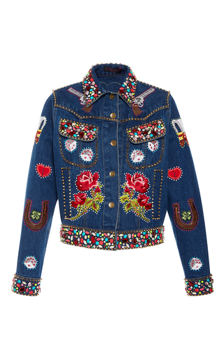 Medium manish arora medium wash patchwork denim jacket
