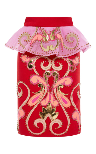 Medium manish arora red rodeo bling ruffle pencil skirt