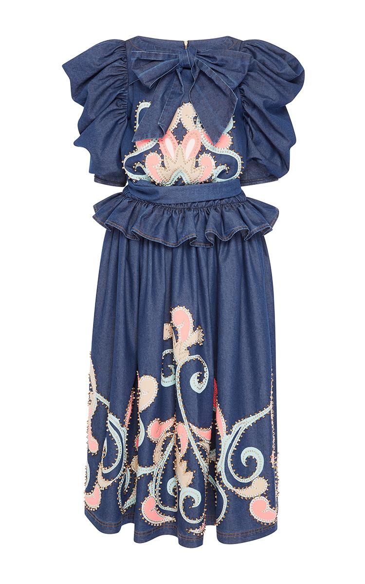 fa618407c Embroidered Ruffle Denim Dress
