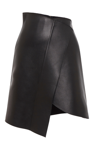 Medium david koma black leather skirt