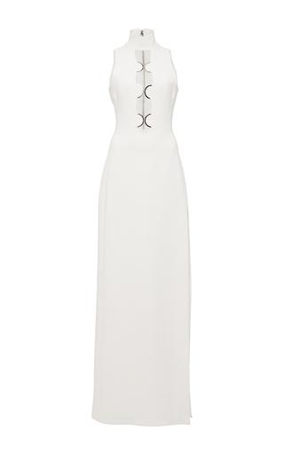 Medium david koma white metal curves chest detal gown