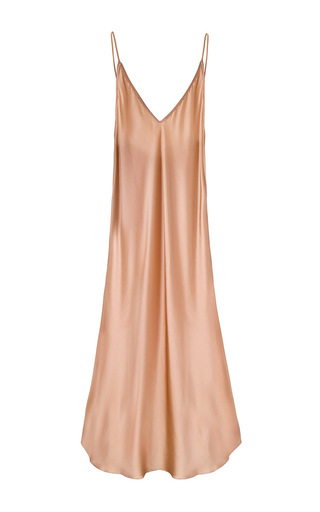 Medium sleeper pink carrie silk slip dress